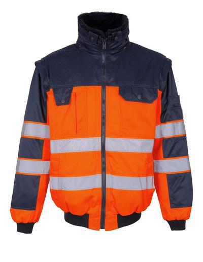 MASCOT® Livigno - pomarańcz hi-vis/granat - Kurtka pilotka z odpinaną futrzaną podpinką, wodoodporna tkanina, klasa 2