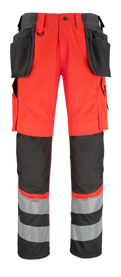 MASCOT® Lixa - czerwień hi-vis/ciemny antracyt* - Spodnie z kieszeniami na kolanach i kieszeniami wiszącymi