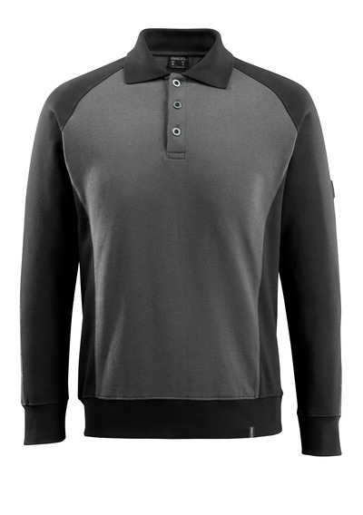 MASCOT® Magdeburg - ciemny antracyt/czerń - Bluza Polo
