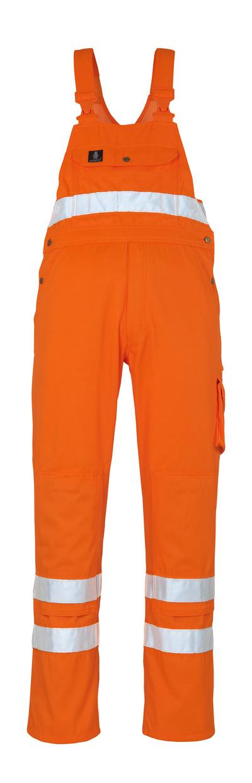 MASCOT® Maine - pomarańcz hi-vis* - Ogrodniczki z kieszeniami na kolanach