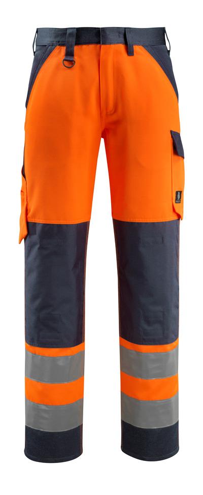 MASCOT® Maitland - pomarańcz hi-vis/ciemny granat - Spodnie z kieszeniami na kolanach, klasa 2