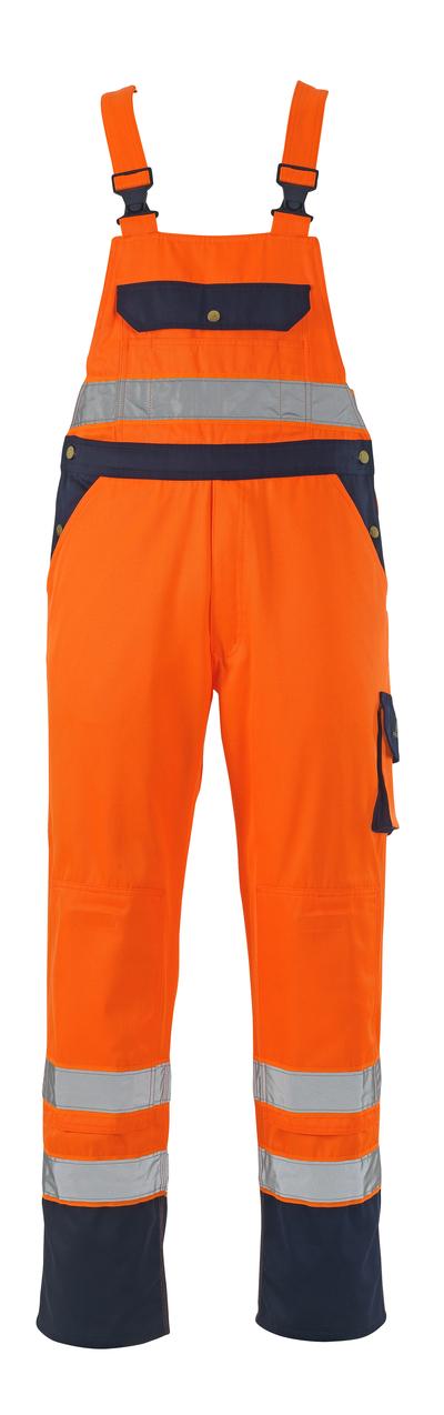 MASCOT® Milano - pomarańcz hi-vis/granat* - Ogrodniczki z kieszeniami na kolanach, klasa 2/2