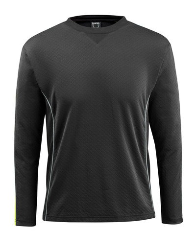 MASCOT® Montilla - czerń/żółty hi-vis - T-Shirt z elementami kontrastowymi o podwyższonej widoczności, długimi rękawami, nowoczesny krój