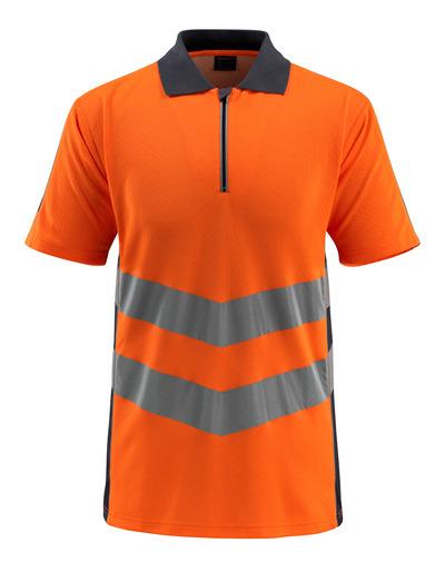 MASCOT® Murton - pomarańcz hi-vis/ciemny granat - Koszulka polo z zamkiem błyskawicznym, nowoczesny krój, klasa 2