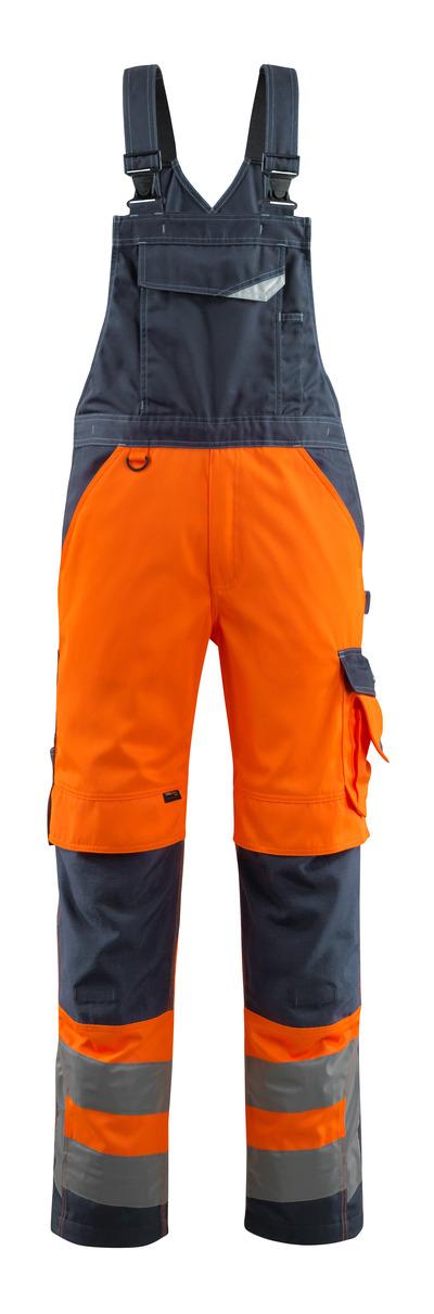 MASCOT® Newcastle - pomarańcz hi-vis/ciemny granat - Ogrodniczki z kieszeniami na kolanach, klasa 2