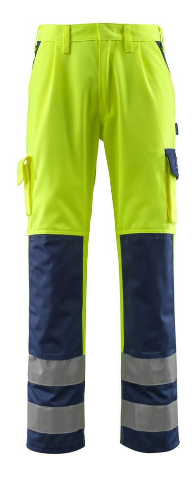 MASCOT® Olinda - żółty hi-vis/granat - Spodnie z kieszeniami na kolanach, klasa 2