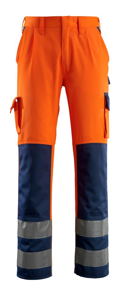 MASCOT® Olinda - pomarańcz hi-vis/granat - Spodnie z kieszeniami na kolanach, klasa 2