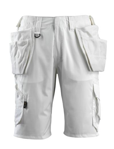 MASCOT® Olot - biel - Szorty z wiszącymi kieszeniami CORDURA® i panelami streczowymi