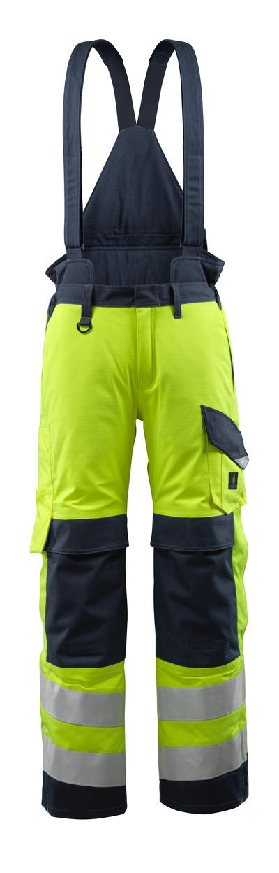 MASCOT® Renens - żółty hi-vis/ciemny granat - Spodnie zimowe z pikowaną podpinką i odpinanymi szelkami, wodoszszelne, wszechstronna ochrona