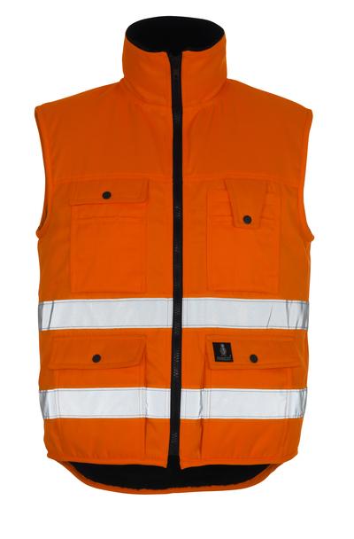 MASCOT® Sölden - pomarańcz hi-vis  - Kamizelka zimowa z futrzaną podpinką, wodoodporna tkanina, klasa 1