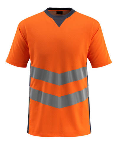MASCOT® Sandwell - pomarańcz hi-vis/ciemny granat - T-Shirt, nowoczesny krój, klasa 2