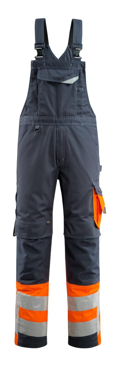 MASCOT® Sunderland - ciemny granat/pomarańcz hi-vis - Ogrodniczki z kieszeniami na kolanach, klasa 1