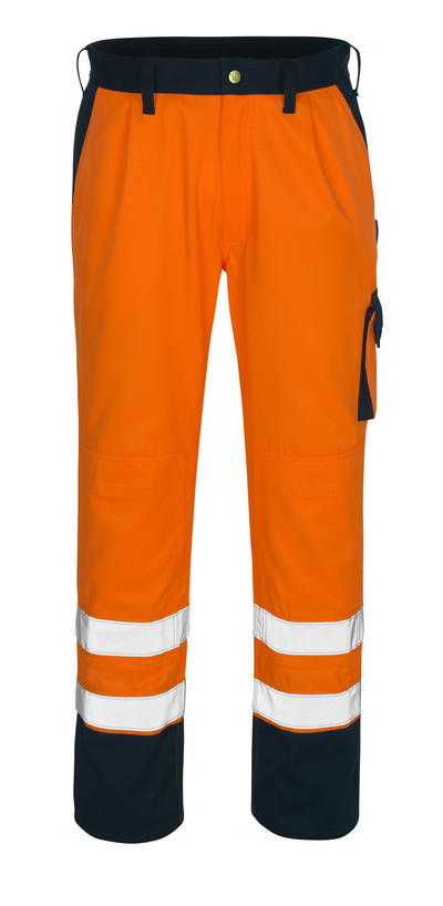 MASCOT® Torino - pomarańcz hi-vis/granat* - Spodnie z kieszeniami na kolanach, klasa 1/2