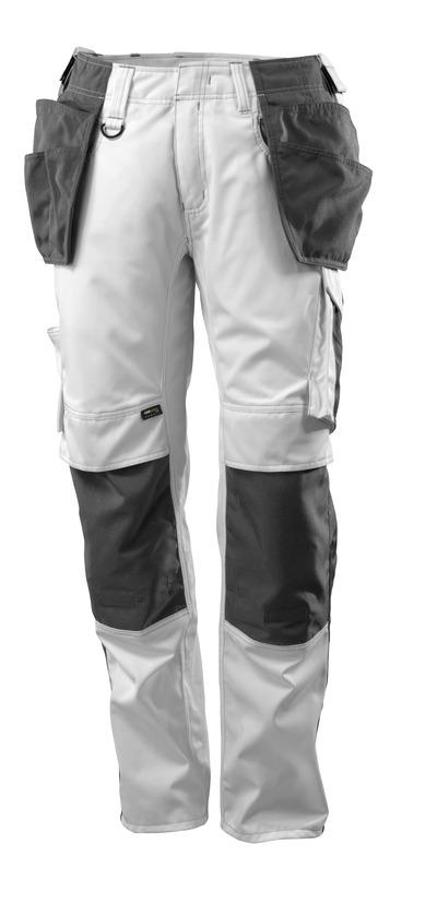 MASCOT® UNIQUE - biel/ciemny antracyt - Spodnie z kieszeniami CORDURA® na kolanach i kieszeniami wiszącymi, niska waga