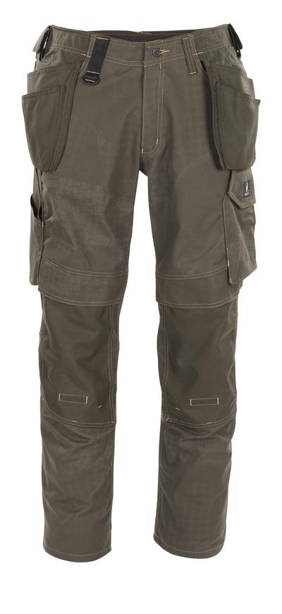 MASCOT® Velho - ciemna oliwka z nadrukiem* - Spodnie dla Rzemieślników