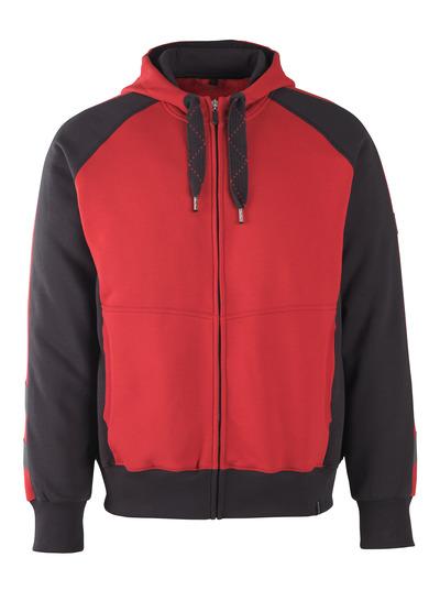MASCOT® Wiesbaden - czerwień/czerń* - Bluza z kapturem z zamkiem błyskawicznym