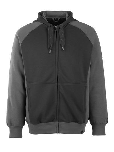 MASCOT® Wiesbaden - czerń/ciemny antracyt - Bluza z kapturem z zamkiem błyskawicznym, nowoczesny krój