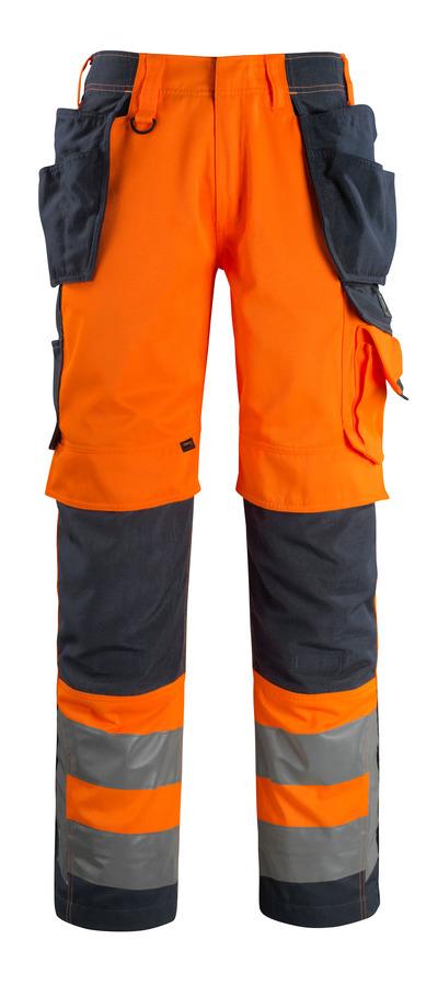MASCOT® Wigan - pomarańcz hi-vis/ciemny granat - Spodnie z kieszeniami CORDURA® na kolanach i kieszeniami wiszącymi, wysoka odporność na zużycie, klasa 2