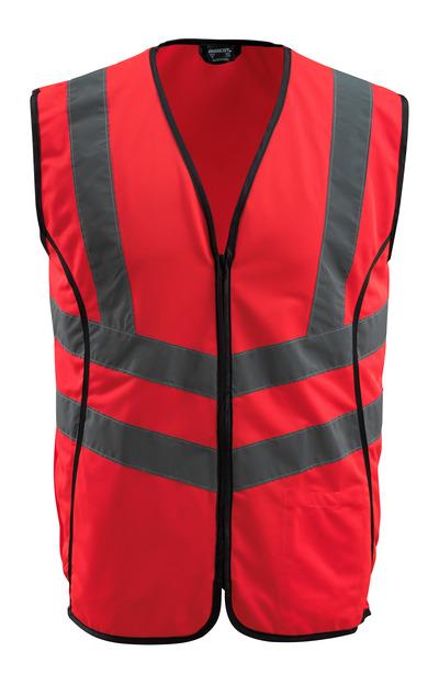 MASCOT® Wingate - czerwień hi-vis - Kamizelka ostrzegawcza z zamkiem błyskawicznym, klasa 2