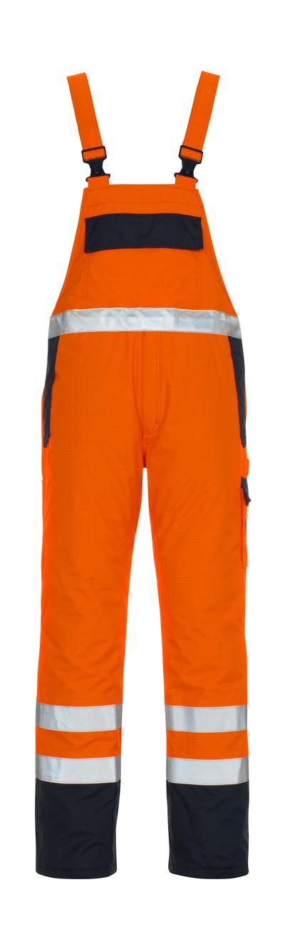 MASCOT® Zug - pomarańcz hi-vis/granat* - Ogrodniczki z podszewką, wszechstronna ochrona, wodoszszelne, klasa 2/2